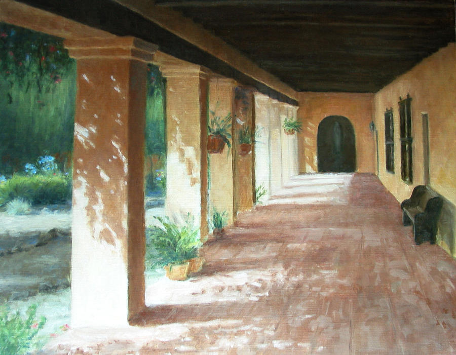 Mission Painting - Santa Barbara Mission - The Niche by Laura Wynne