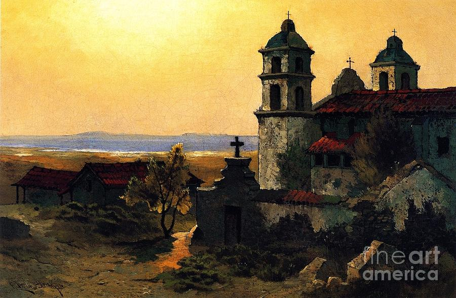 Pd Painting - Santa Barbara Mission by Pg Reproductions