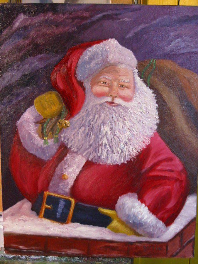 Santa Claus Painting - Santa By Moonlight by Roger E Gorrin
