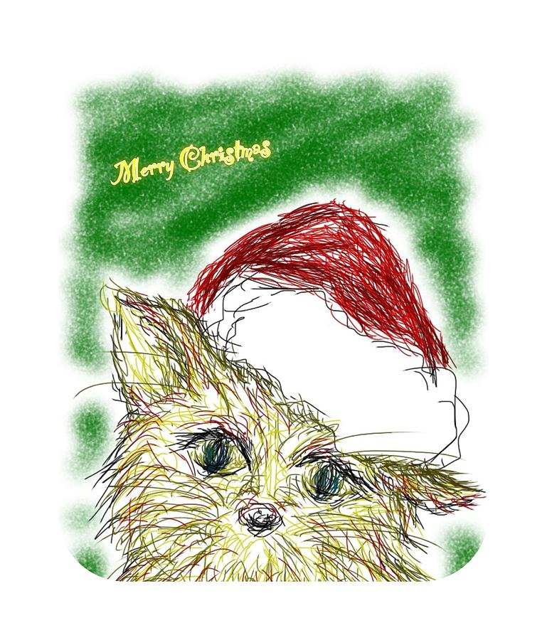 Cat Drawing - Santa Cat by Kumiko Izumi