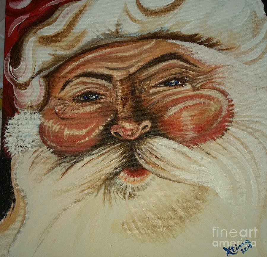 Santa Painting - Santa by Christina Little