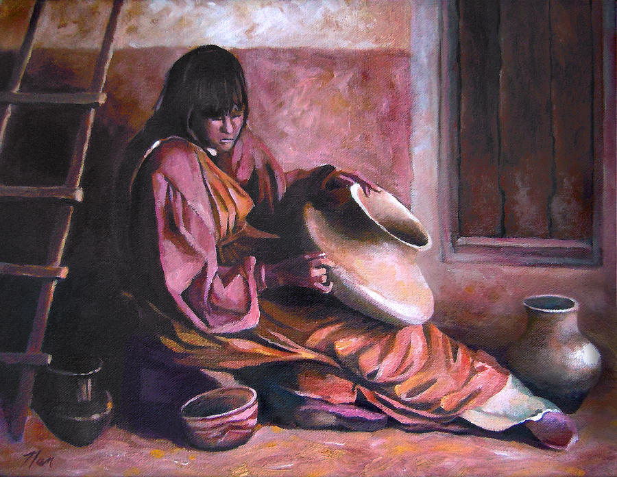 Native American Painting - Santa Clara Potter by Nancy Griswold