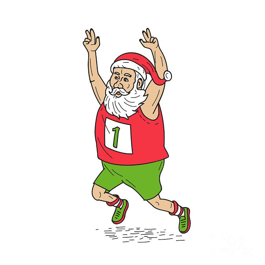 Father Christmas Cartoon Images.Santa Claus Father Christmas Running Marathon Cartoon