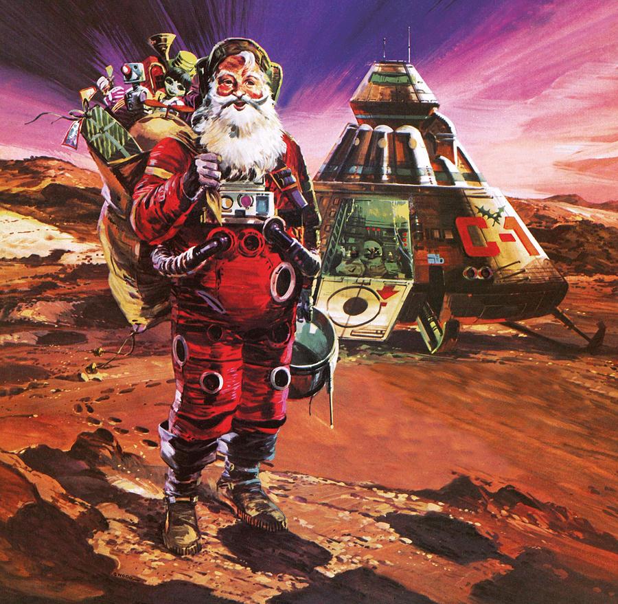 Mars Painting - Santa Claus on Mars by English School