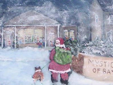 Santa Painting - Santa Comes Too Bay Shore  by Richard Finnell
