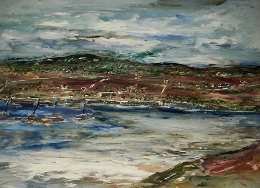 Seascape Painting - Santa Cruz Bay by Edward Wolverton