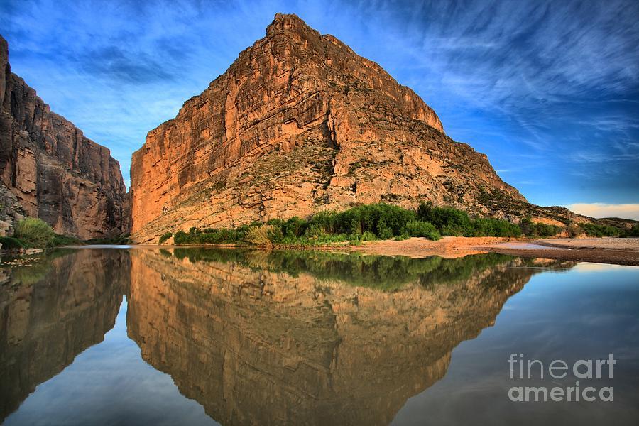 Big Bend Canyon Photograph - Santa Elena Canyon Morning Reflections by Adam Jewell