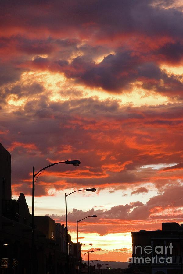 Cityscape Photograph - Santa Fe At Dusk New Mexico by Julia Hiebaum