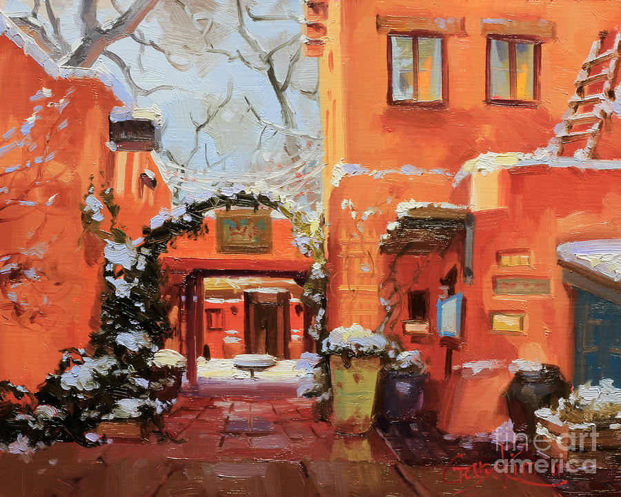 Canvas Santa Fe >> Santa Fe Cafe Painting by Gary Kim