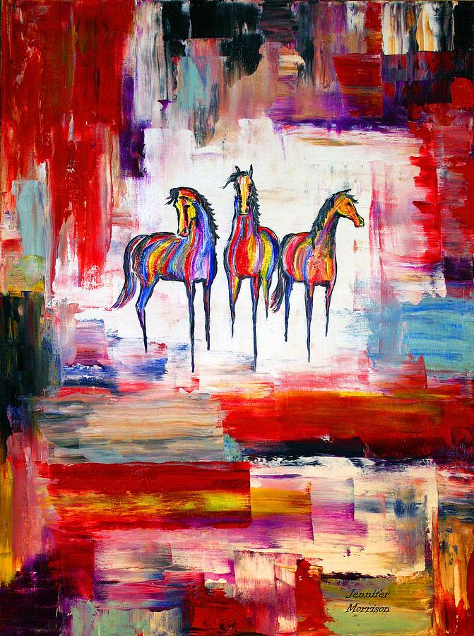 Western Paintings Painting - Santa Fe Dreams Horses by Jennifer Godshalk