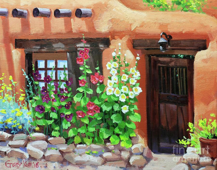 Santa Fe Hollyhocks Painting by Gary Kim