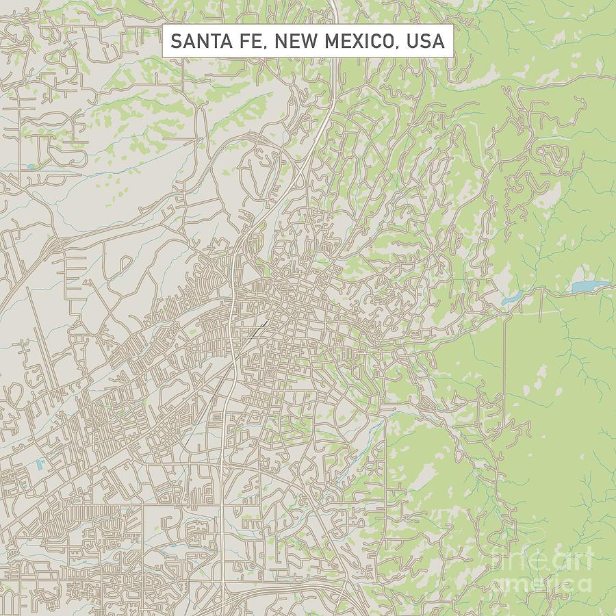Santa Fe New Mexico Us City Street Map