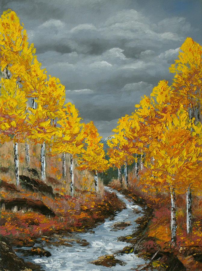 Landscape Painting - Santa Fe River Aspens by Carl Owen