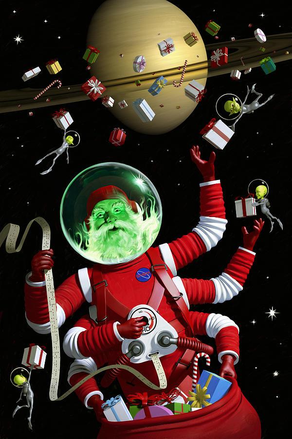 Santa Digital Art - Santa In Space by Alex Tomlinson
