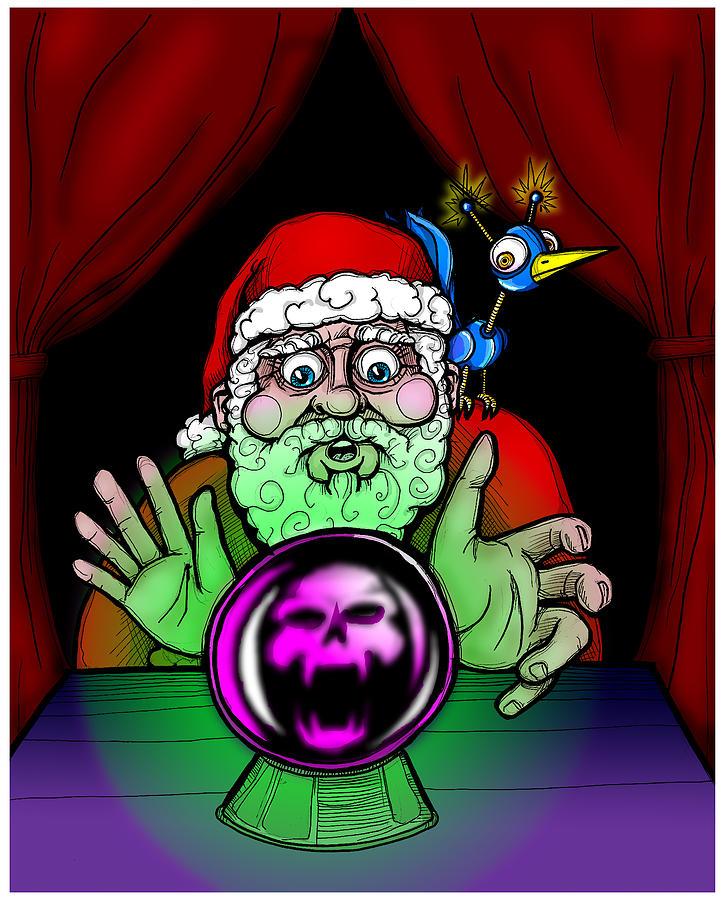 Santa Drawing - Santa Knows by Christopher Capozzi