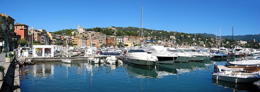 Boat Photograph - Santa Margherita Ligure Panoramic by Adam Romanowicz