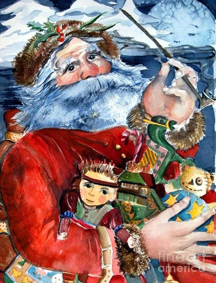 Christmas Painting - Santa by Mindy Newman