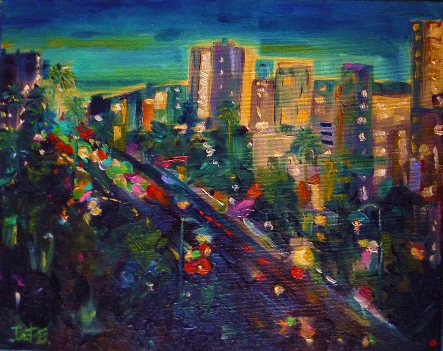 City Street Scape Painting - Santa Monica Glow by Irit Bourla
