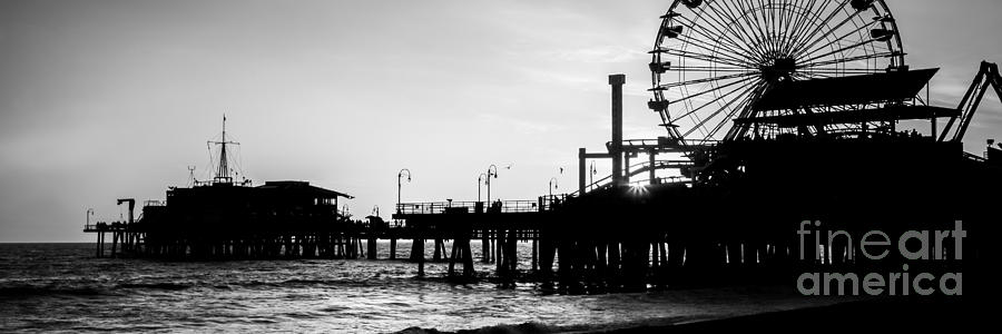 Santa Monica Pier Black And White Panoramic Picture Photograph