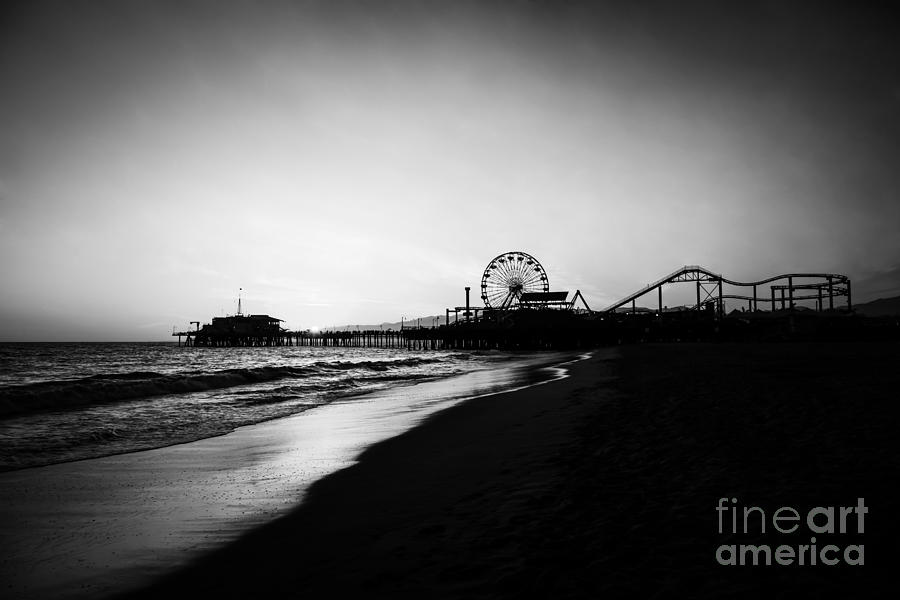 Santa Monica Pier Black And White Photography Photograph