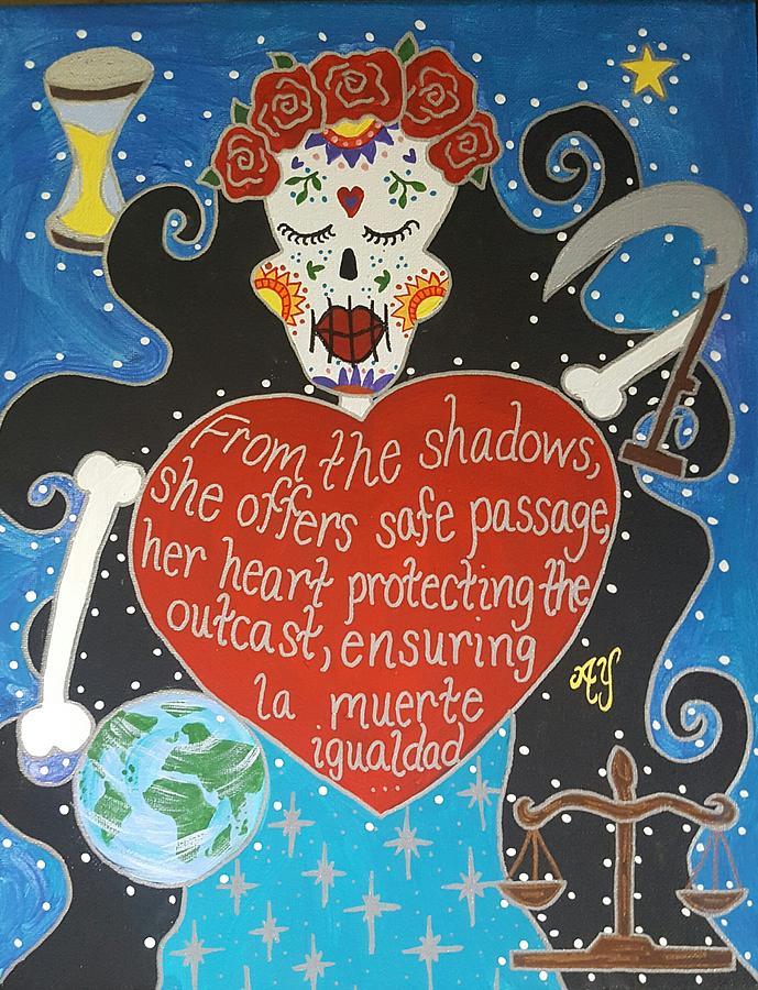 Holy Painting - Santa Muerte by Angela Yarber
