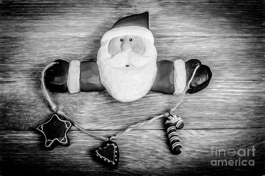 Santa On Barn Board Photograph