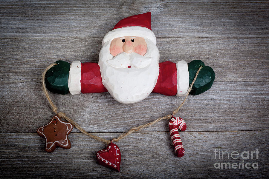 Santa On Barn Board In Color Photograph