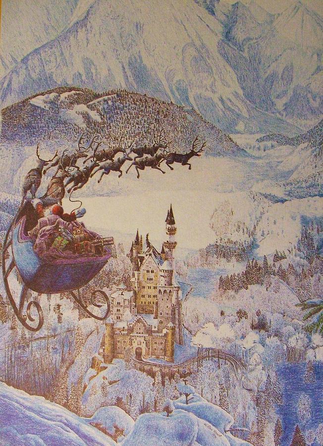 Neuschwanstein Drawing - Santa Over Neuschwanstein by Dan Hausel