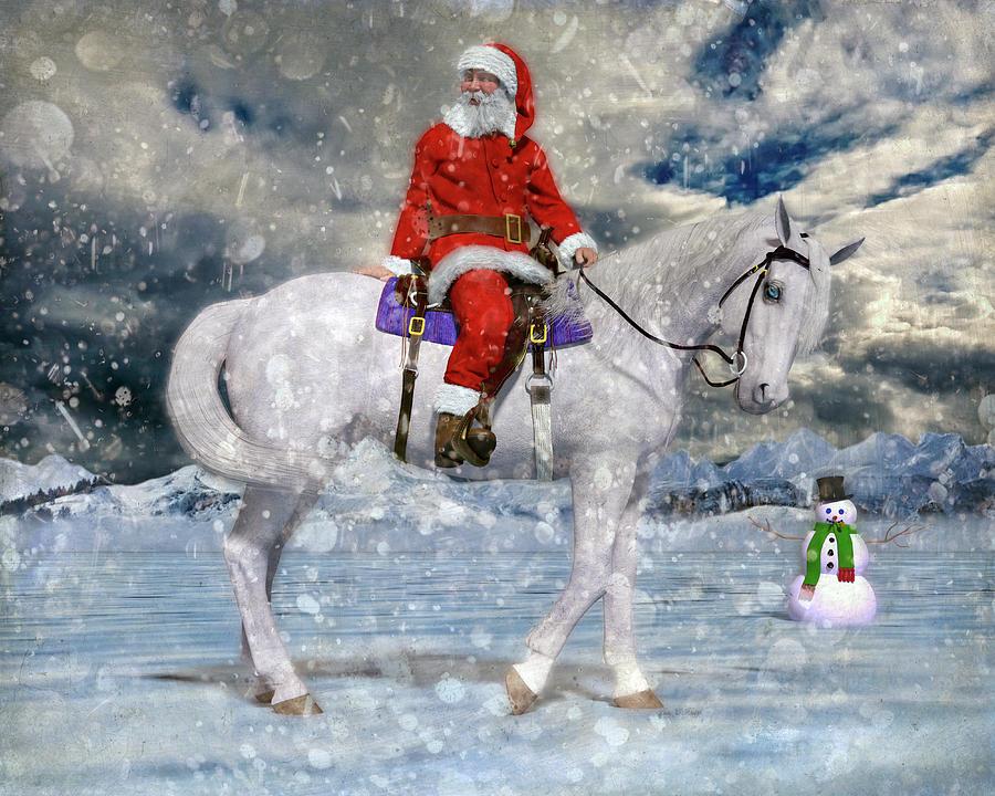 Christmas Digital Art - Santa Rides To Town by Betsy Knapp
