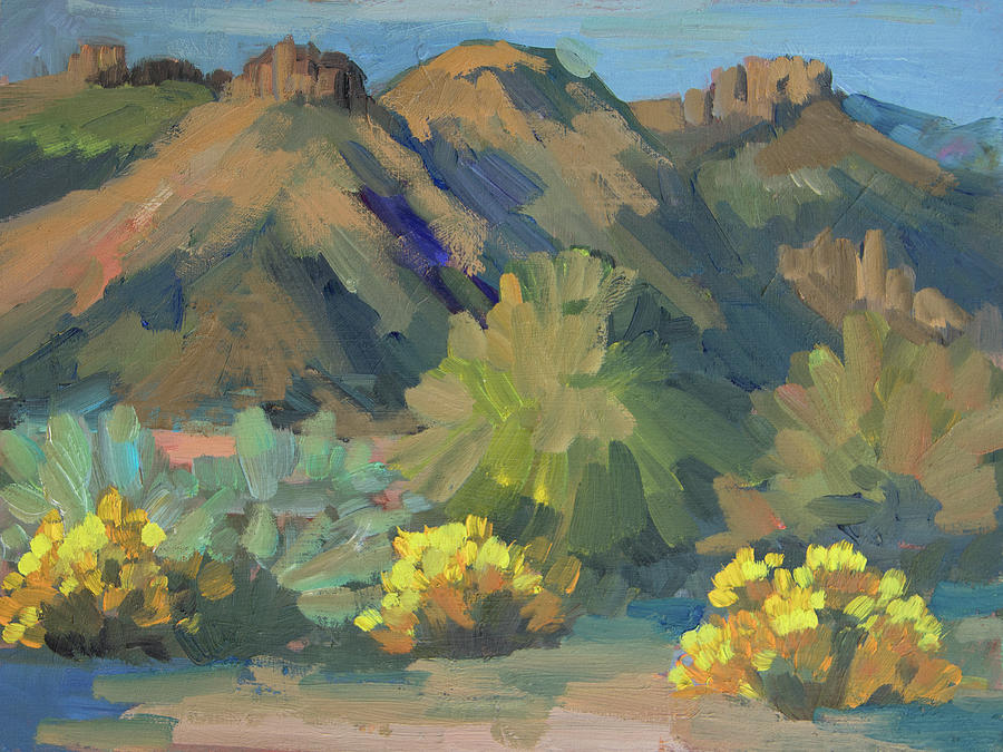 Coachella Valley Painting - Santa Rosa Mountains And Brittle Bush by Diane McClary