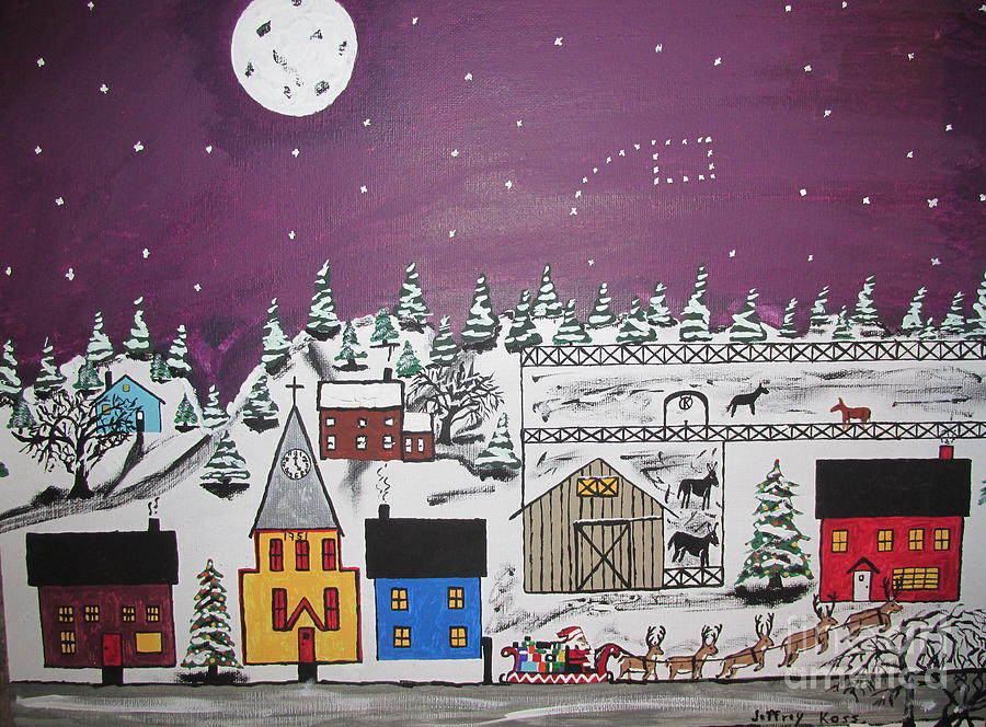 Snow Painting - Santa Under The Little Dipper by Jeffrey Koss