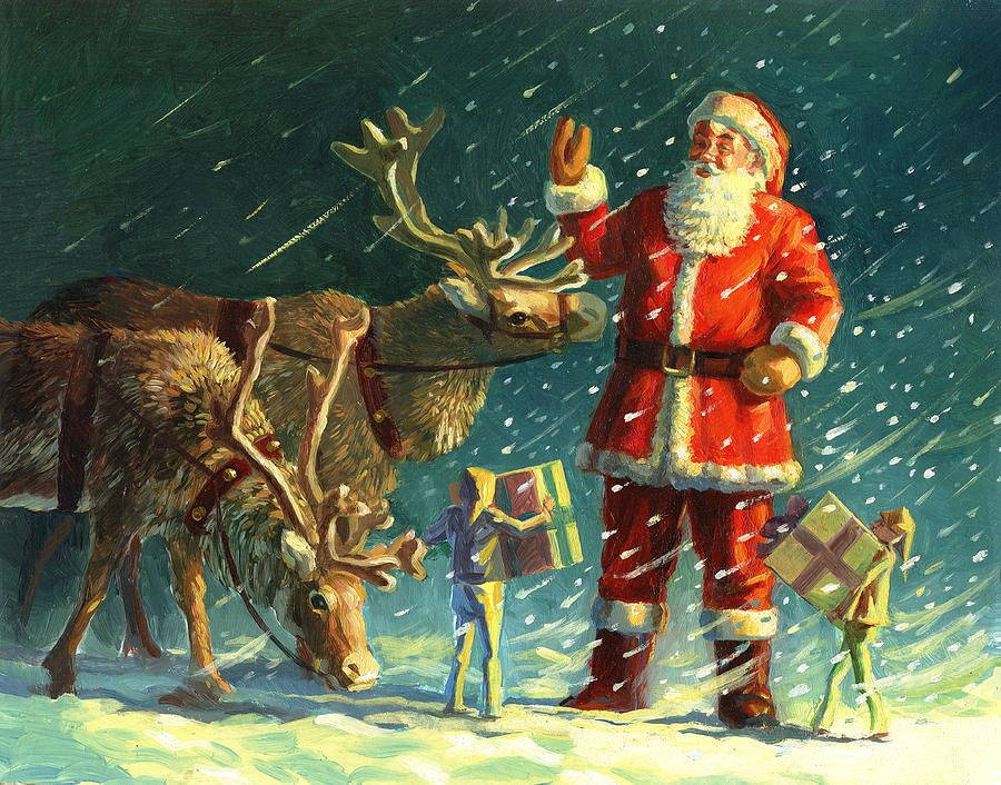 Santa Painting - Santas And Elves by David Price