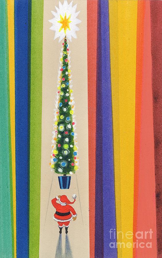 Christmas Painting - Santas Christmas Tree by Stanley Cooke