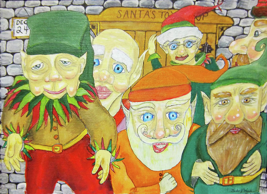 Santa Painting - Santas Elves by Gordon Wendling