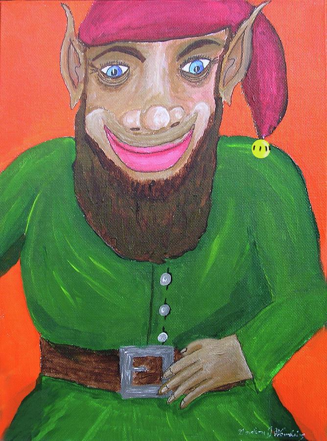 Elf Painting - Santas Happy Elf by Gordon Wendling