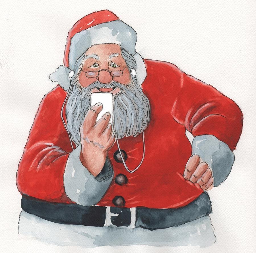 Santa Painting - Santas New Ipod by Don Pedicini