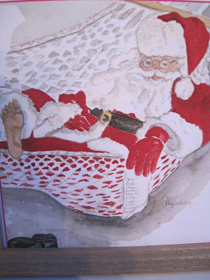 Santa Greeting Card - santas night after Christmas by Peg Whiting