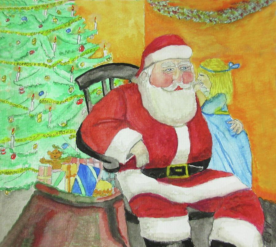 Christmas Painting - Santas Secret by Gordon Wendling