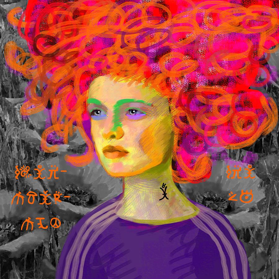Woman Painting - Santia In Adidas Bluse 981 by Maciej Mackiewicz
