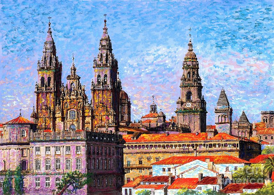 Spain Painting - Santiago De Compostela, Cathedral, Spain by Jane Small