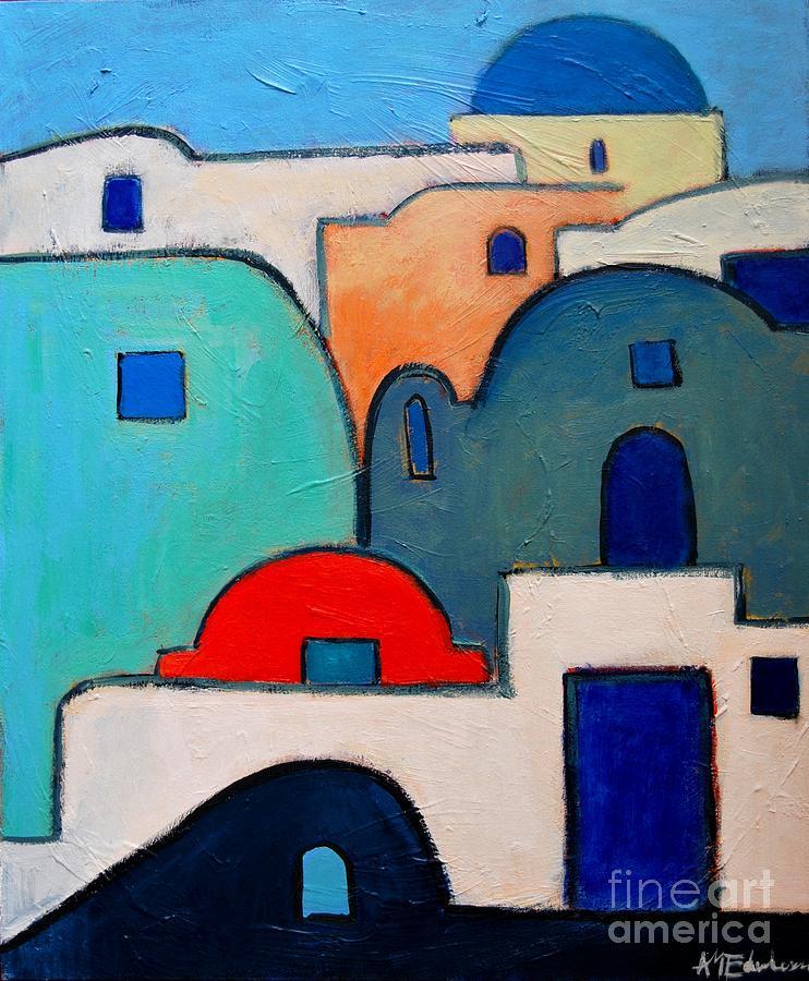 Santorini Painting - Santorini Cityscape by Ana Maria Edulescu