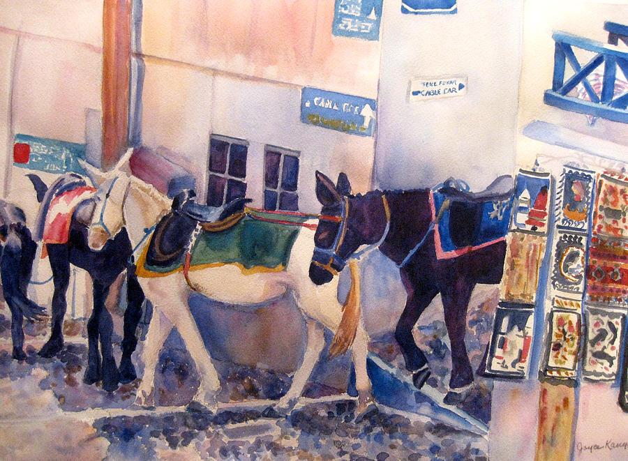 Animals Painting - Santorini Donkeys by Joyce Kanyuk