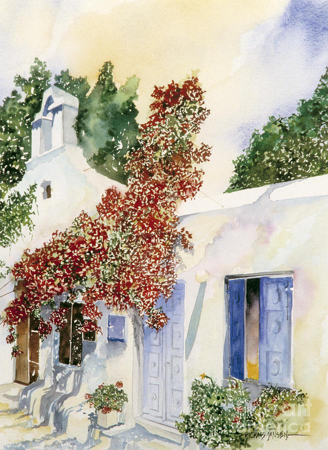 Watercolor Painting - Santorini Door by Richard Jansen