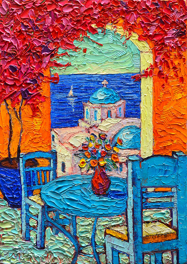 Santorini dream greece contemporary impressionist palette - Fine art america ...