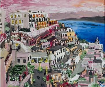 Santorini Painting by Ira Stark