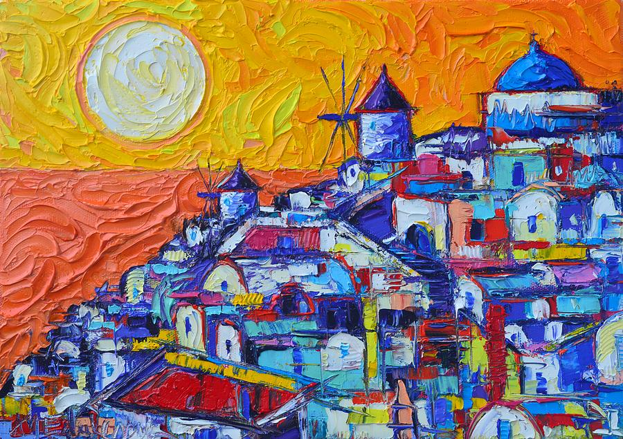 Santorini Oia Sunset 7 Abstract Cityscape Impasto Palette Knife Oil Painting By Ana Maria Edulescu