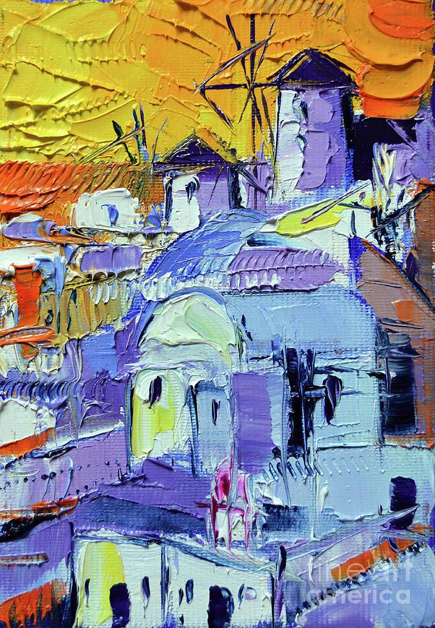 Santorini Painting - Santorini Oia Sunset - Mini Cityscape 04 by Mona Edulesco
