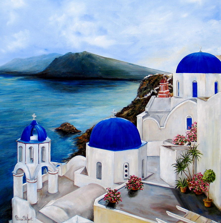 Santorini painting by patricia dehart for Santorini blue paint