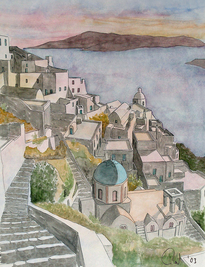 Watercolor Painting - Santorini by Rod Jones
