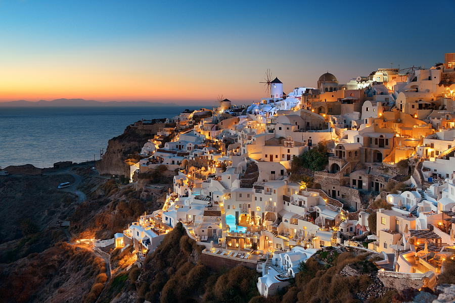 Greece Photograph - Santorini Skyline Night by Songquan Deng